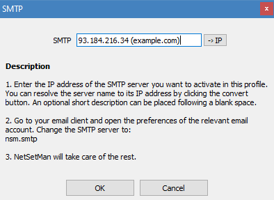 SMTP / Email window